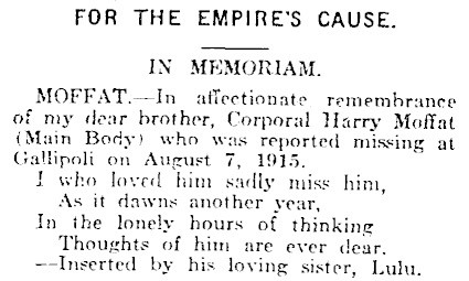 The notice placed in the 'Southland Times' by Harry's sister Lulu, to mark the fifth anniversary of his death.